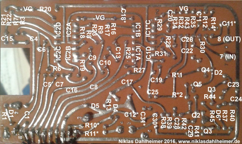 Boss GE-6 circuit board back with partnumbers