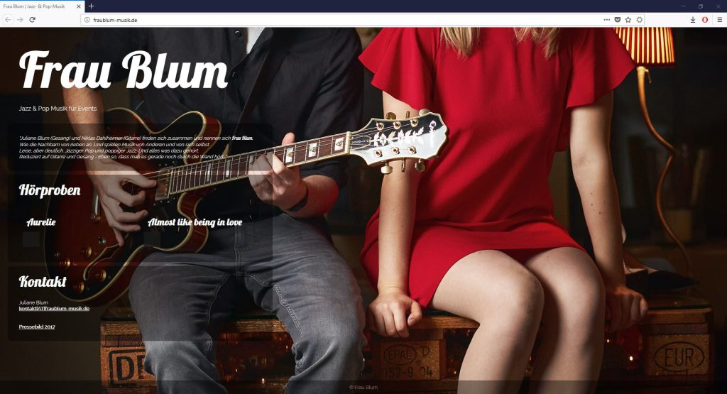 Website Frau Blum Jazz-Pop-Duo